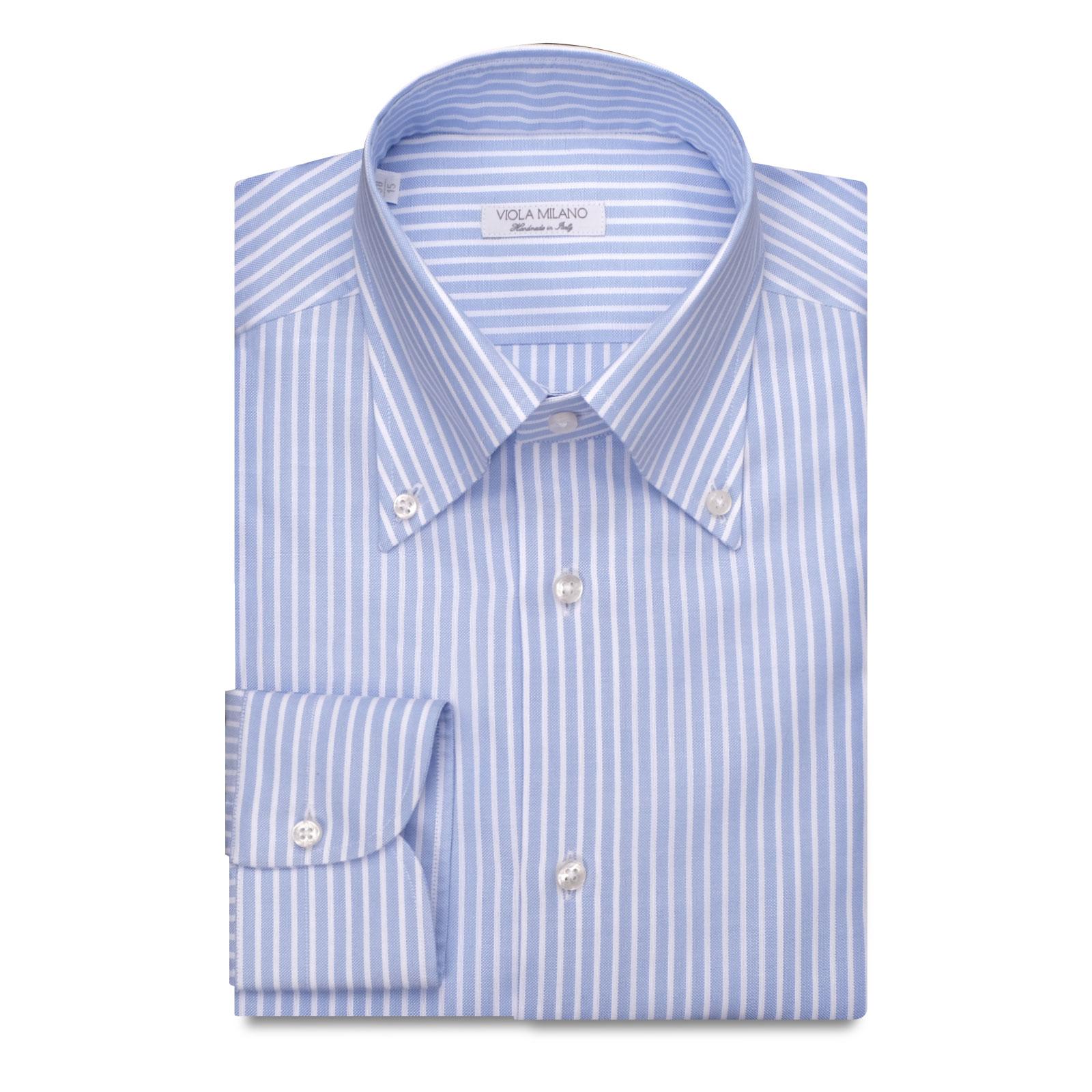 Stripe American Oxford Button-Down Collar Dress Shirt - Sea/White