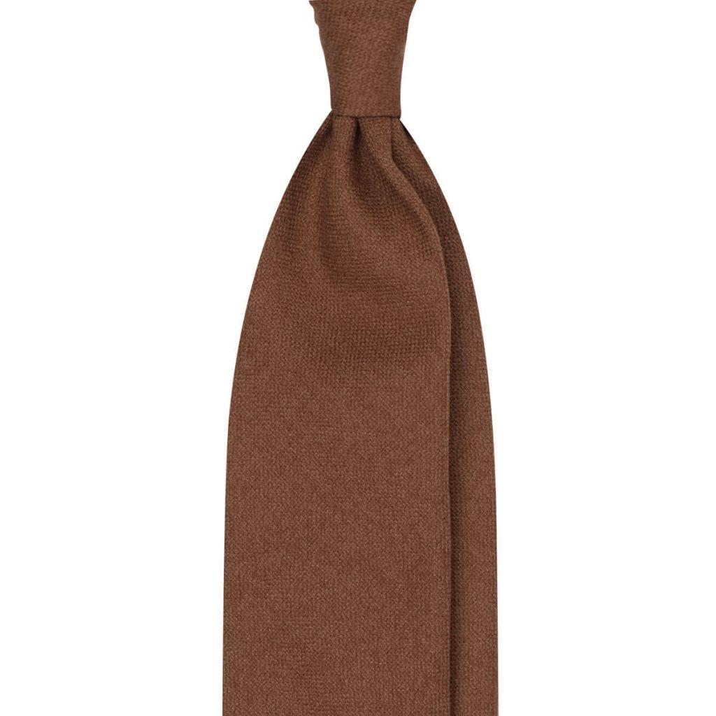 Solid Untipped 100% Wool Tie - Brown
