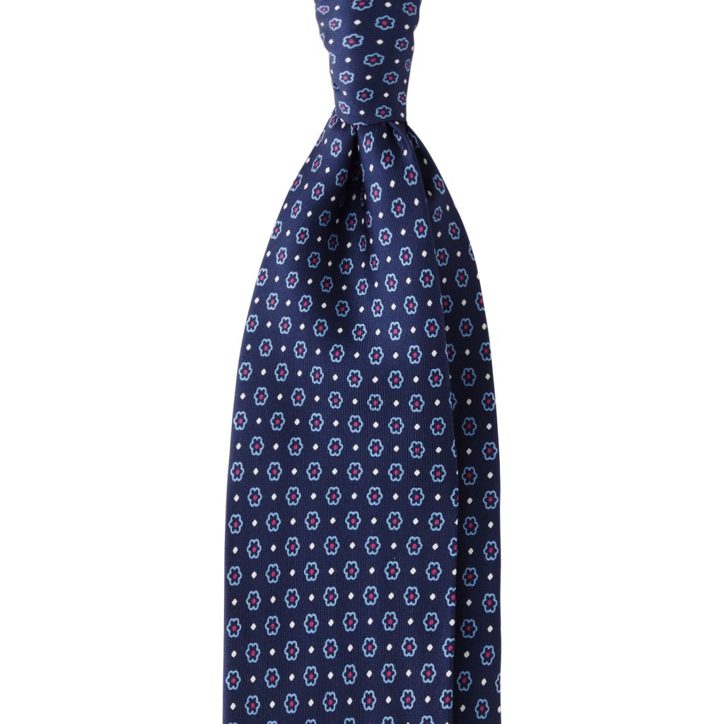 Florette Dotted 3-fold Untipped silk tie - Blue Mix