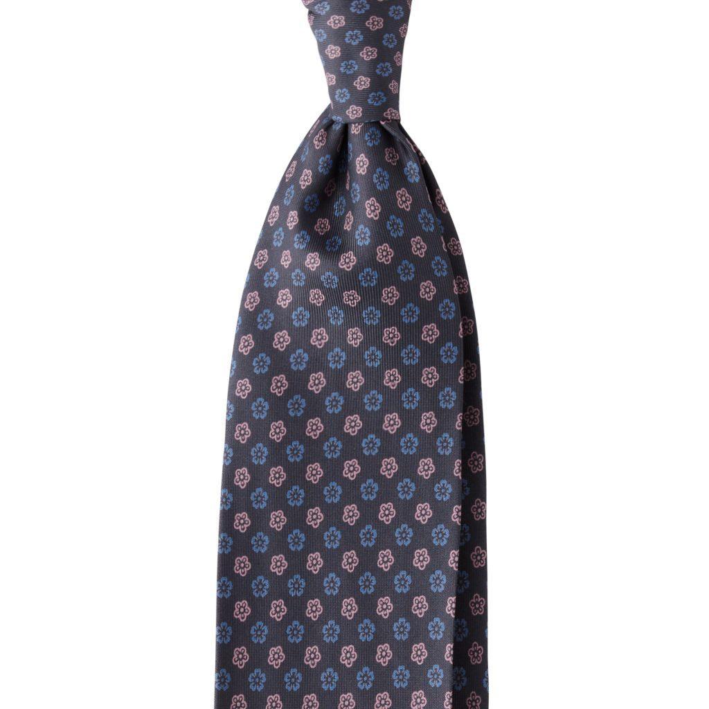 Florette 3-fold Handprinted Untipped silk tie - Graphite Mix