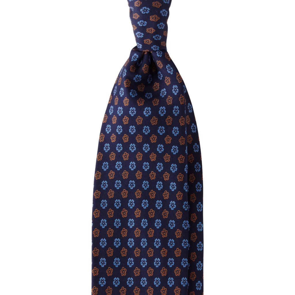 Florette 3-fold Handprinted Untipped silk tie - Blue Mix