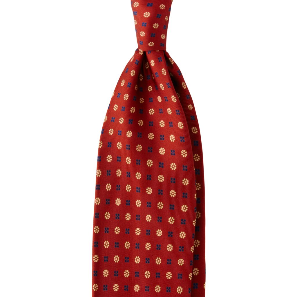 Micro Floral 3-fold Untipped silk tie - Rust Mix