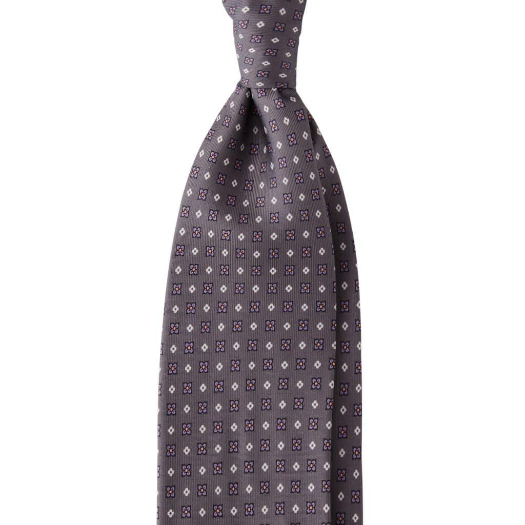 Floral Clover 3-fold Untipped silk tie - Grey