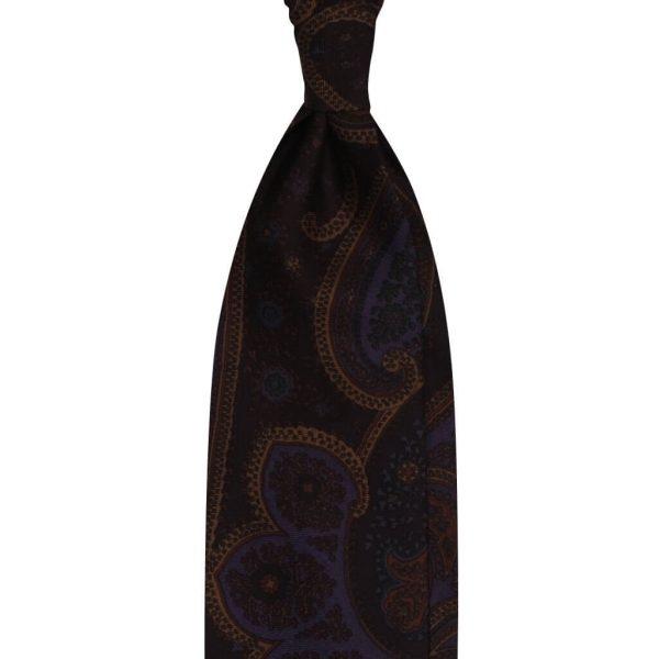 Paisley Pattern 3-Fold Untipped Vintage Silk Tie - Maroon/ Plum