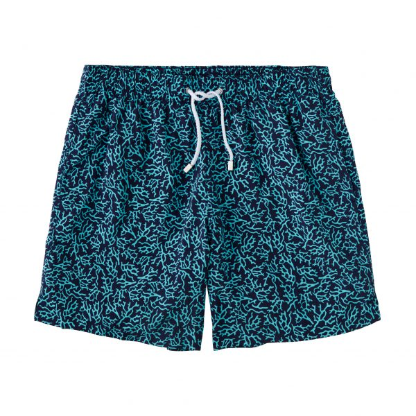 Printed Coral Swimtrunks – Navy/Turquoise