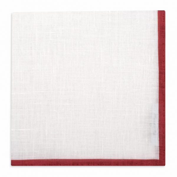 Classic shoestring Linen Pocket Square - Rosso