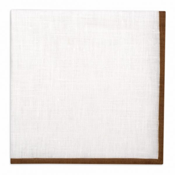 Classic shoestring Linen Pocket Square - Brown