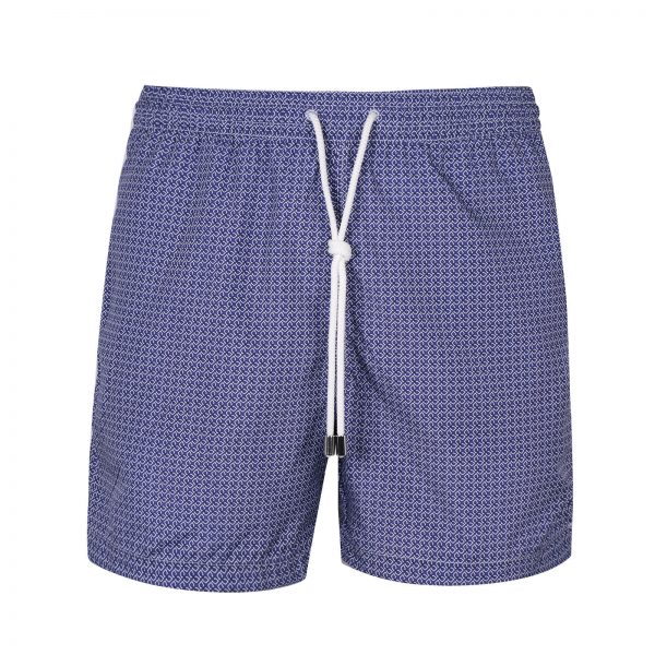 Micro Cube Chain Pattern Printed Swimtrunks - Purple/ White